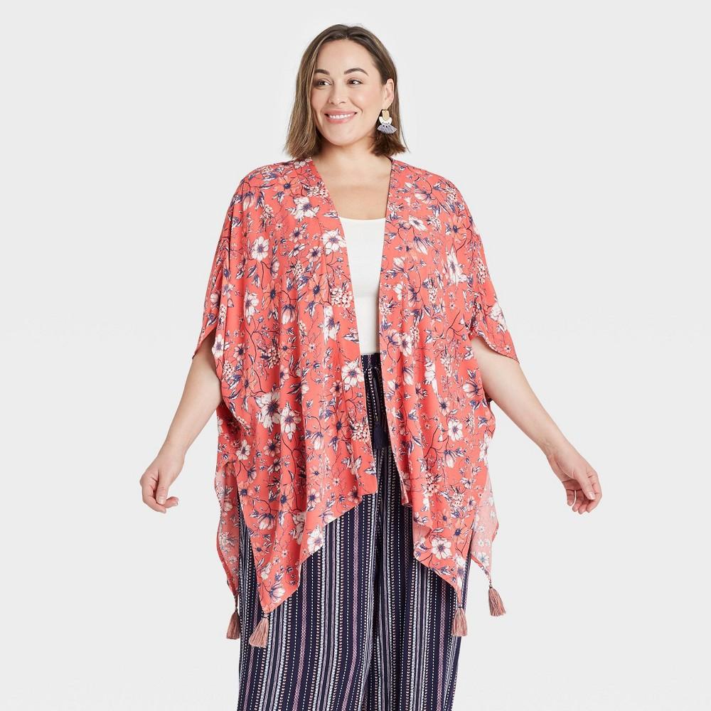 Women 39 S Plus Size Floral Print Short Sleeve Kimono Jacket Knox Rose 8482 Pink 2x 3x