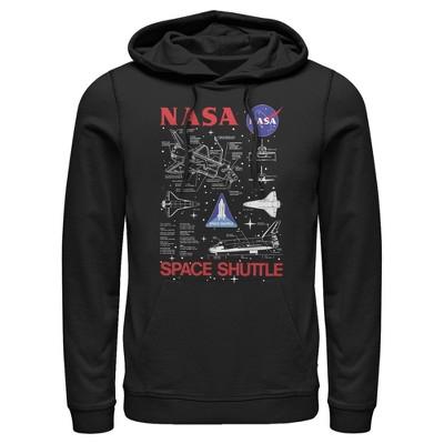 Men's NASA Space Shuttle Schematic Details Pull Over Hoodie