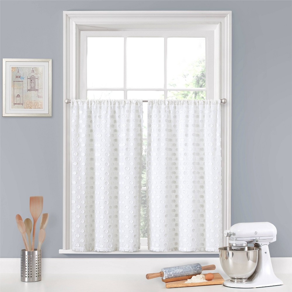 "Image of ""24""""x52"""" Modo Rod Pocket Curtain Tier Set White - Eclipse"""