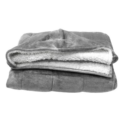 Hooded Reversible Shiny Velvet Revesible to Sherpa Weighted Throw Gray - Pur Serenity