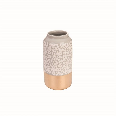 Gray and Copper Patterned Leaf Ceramic Vase - Foreside Home & Garden - image 1 of 4