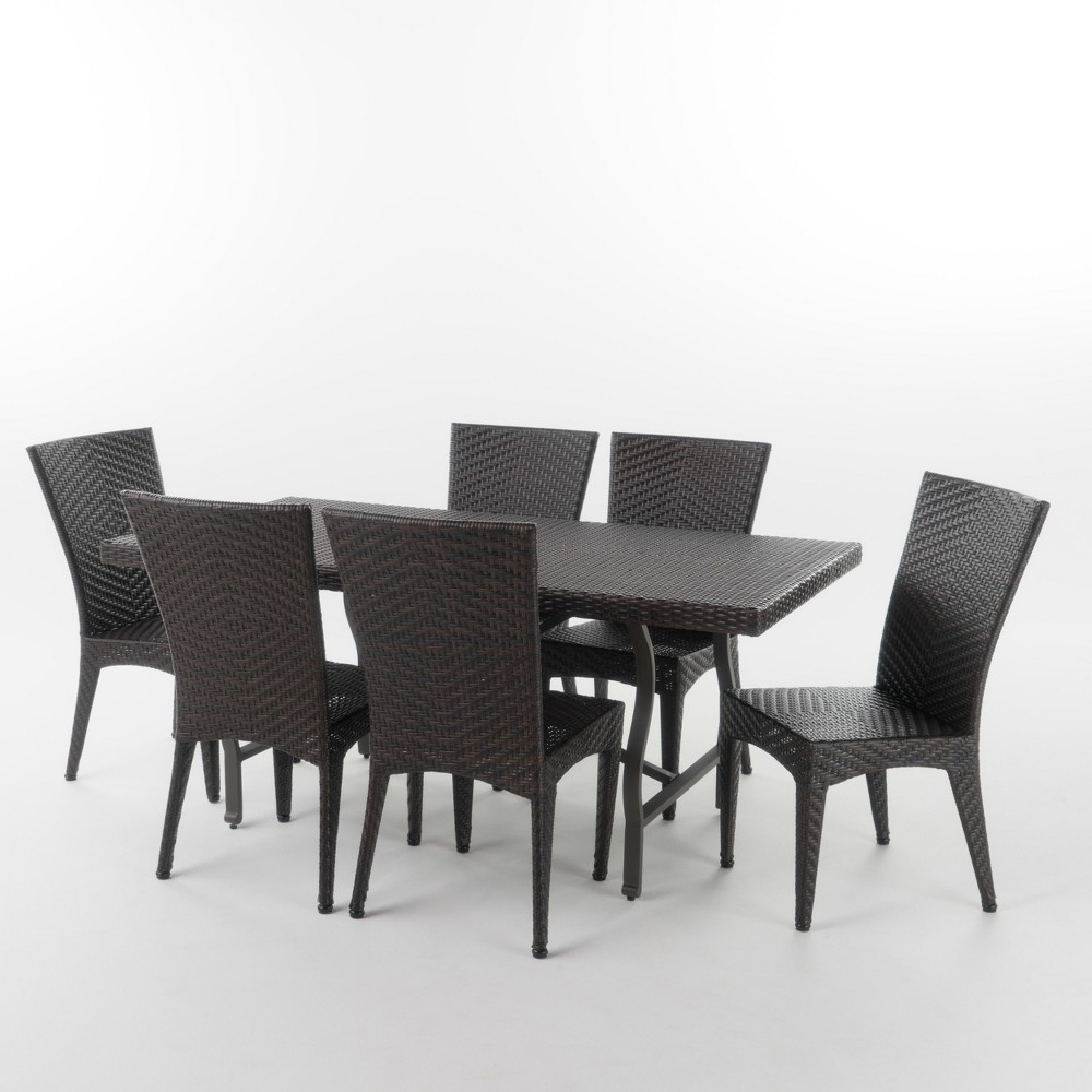 Dudley 7pc Wicker Dining Set - Multibrown - Christopher Knight Home, Brown