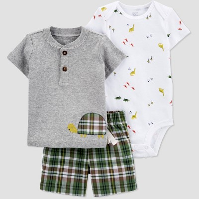 Baby Boys' Dino Plaid Top & Bottom Set - Just One You® made by carter's Gray/Green 9M