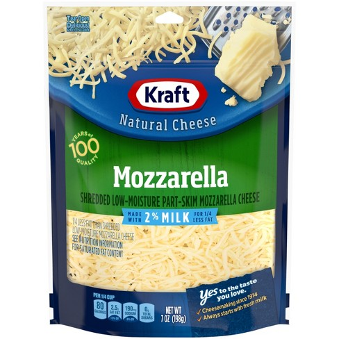 Kraft Shredded Low-Moisture Part-Skim Mozzarella Cheese - Made with 2% Reduced Fat Milk & Added Calcium - 7oz - image 1 of 4