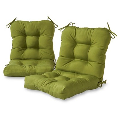 Set of 2 Solid Outdoor Seat/Back Chair Cushions - Kensington Garden