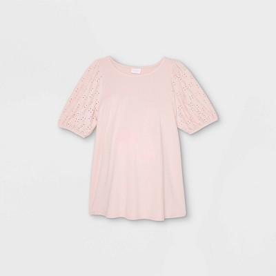 Maternity Eyelet Short Sleeve Knit Blouse - Isabel Maternity by Ingrid & Isabel™