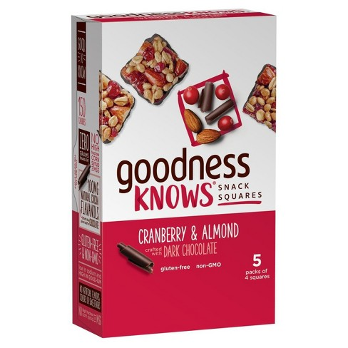 Goodnessknows Cranberry Almond And Dark Chocolate Snack Squares - 5ct - image 1 of 9