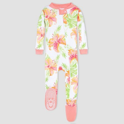 Burt's Bees Baby® Baby Girls' One Piece Tropical floral Footed Pajamas - Light Orange 3-6M