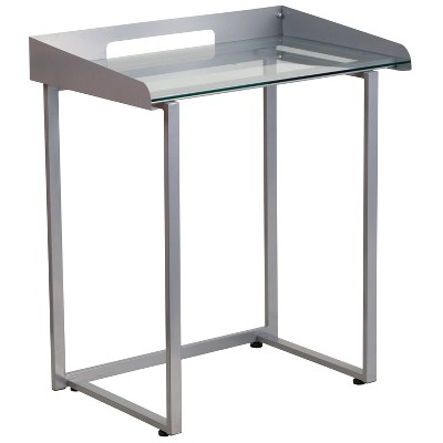 Contemporary Clear Tempered Glass Desk with Cable Management Border Clear/Silver - Riverstone Furniture Collection