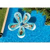 Intex Petal 76 x 49 Inch Inflatable Floating Lounge Chair Pool Float Lounger with Cupholder and Connector Tethers, Blue & White - image 3 of 4