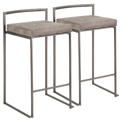 """Set of 2 26"""" Fuji Contemporary Stackable Counter Height Barstools Antique with Cushion"""