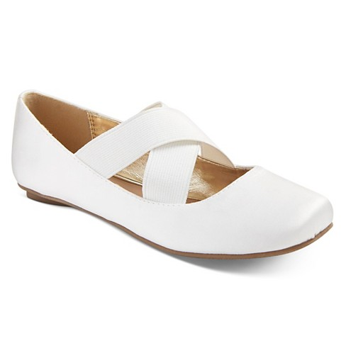 Girls' Anita Ballet Flats Tevolio™ - White 6 - image 1 of 3