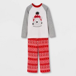 "Kids' Holiday ""Lil"" Bear Pajama Set - Wondershop™ Gray/Red/White"