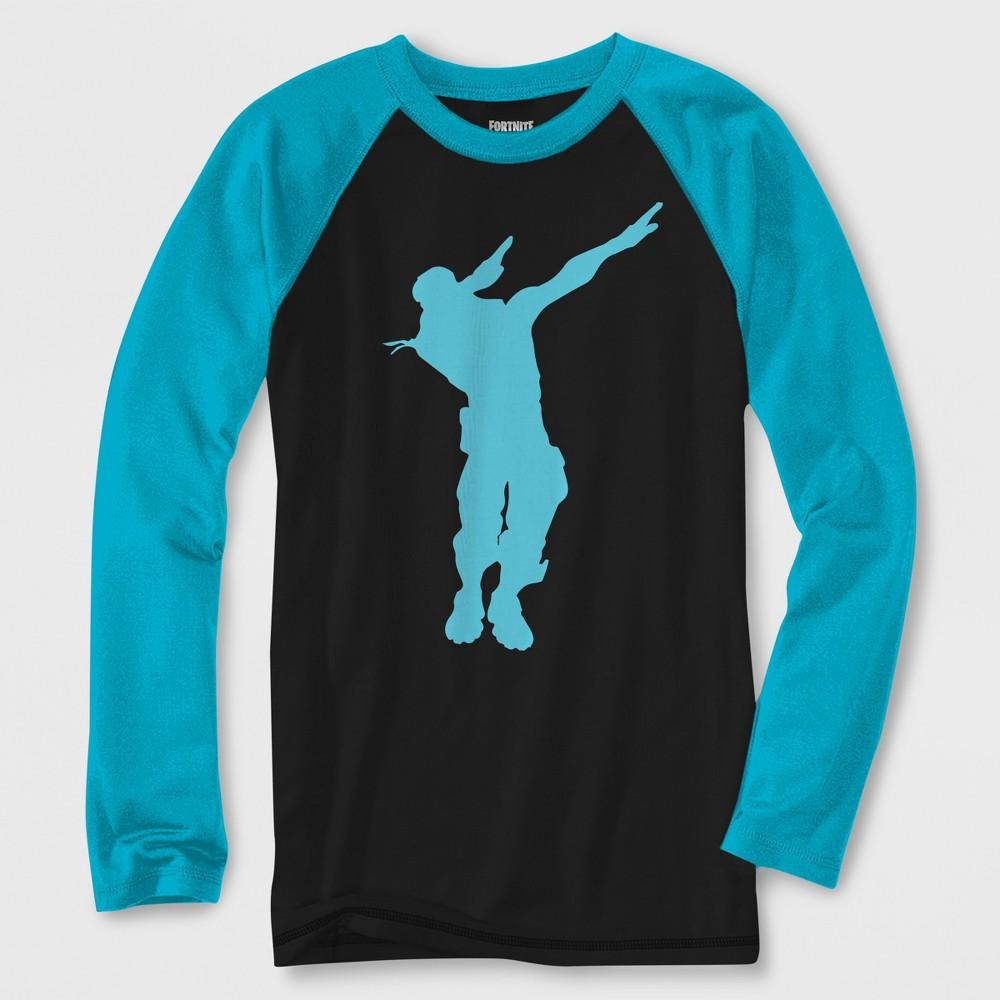 Boys' Fortnite Dabbing Long Sleeve Raglan Graphic T-Shirt - Black/Turquoise XS, Multicolored