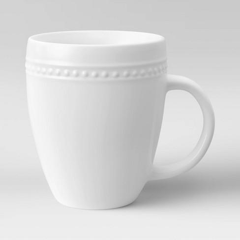Beaded Rim Porcelain Mug 13 5oz