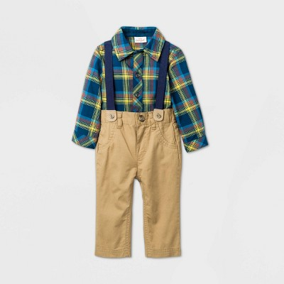 Baby Boys' Long Sleeve Plaid Suspender Top & Bottom Set - Cat & Jack™ Blue 6-9M