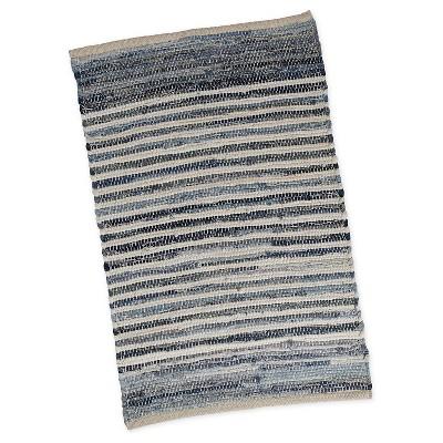 "20""x31.5"" Stripe Chindi Kitchen Rug Denim - Design Imports"