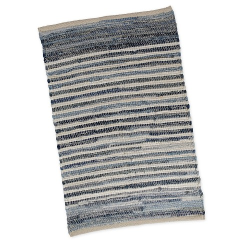 "Denim Stripe Chindi Rug (20""X31.5"") - Design Imports - image 1 of 4"