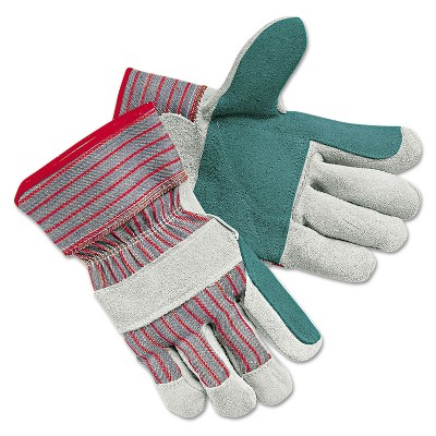Memphis Men's Economy Leather Palm Gloves White/Red Large 12 Pairs 1211J