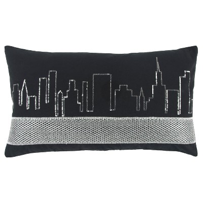 Black And Silver Geometric Throw Pillow - Rizzy Home