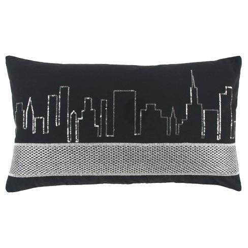 Black And Silver Geometric Throw Pillow Rizzy Home Target