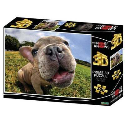 The Zoofy Group LLC Pugsley The Nose Knows Super 3D 500 Piece Jigsaw Puzzle For Adults And Kids