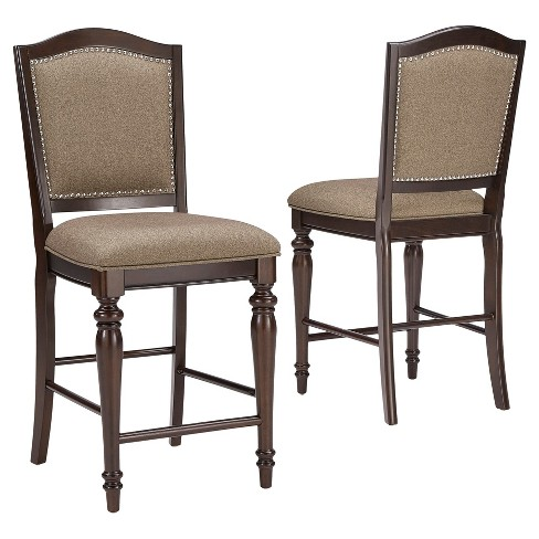 "24.8"" Marist Nailhead Accent Counter Stool (Set of 2) - Dark Cherry - Inspire Q - image 1 of 6"