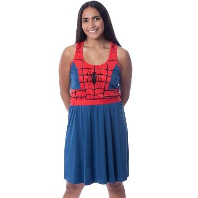 Marvel Womens' Spider-Man Spidey Suit Costume Nightgown Sleep Pajama Dress
