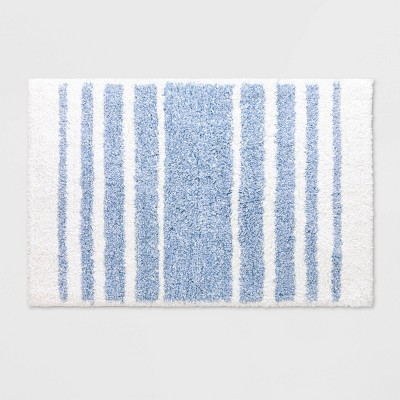 Chambray Stripe Blue Bath Rug Blue - Threshold™