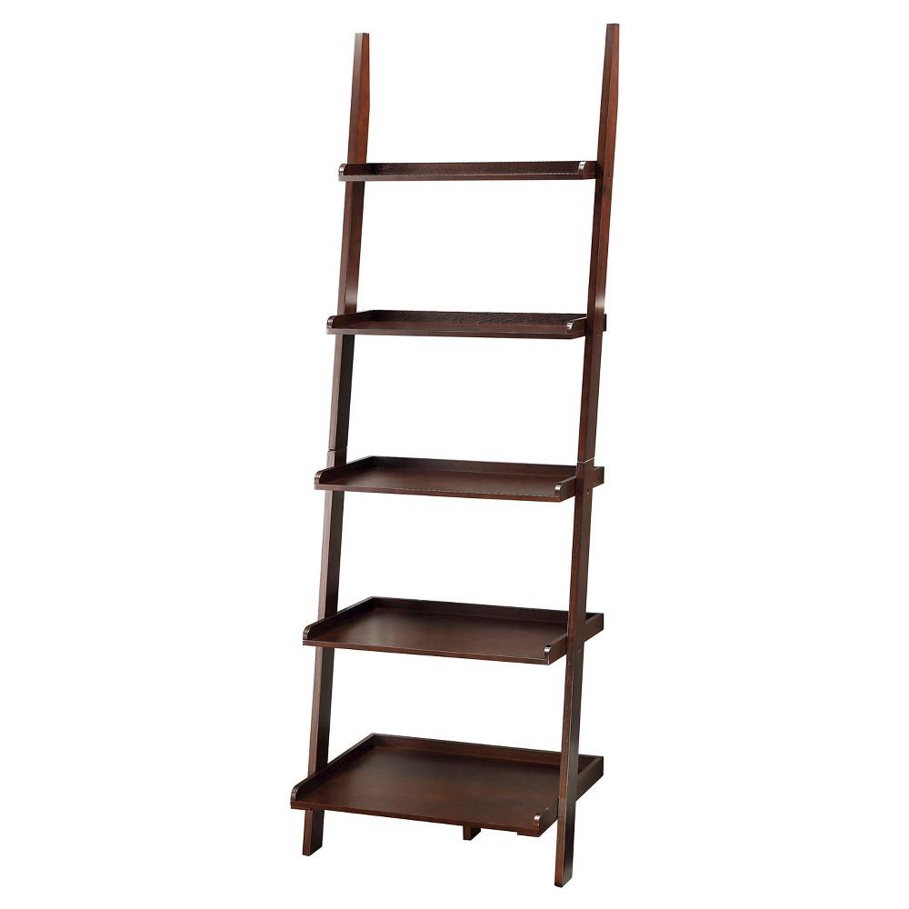 American Heritage 72 Bookshelf Ladder Espresso - Convenience Concepts, Brown
