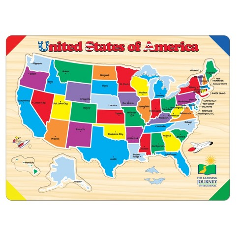 United States Map Puzzles.The Learning Journey Lift Learn Usa Map Puzzle 40pc Target