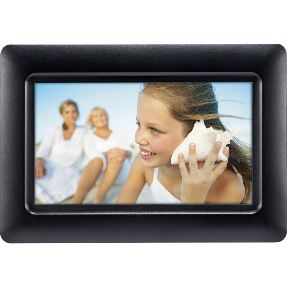 7 Digital Frame Black - Polaroid Put your favorite memories on display with this black Digital Frame from Polaroid. This seven-inch digital frame lets you plug in your memory card or Usb to display your photos for all to see; customizable slideshow settings and programmable transitions help you adjust your display according to your preference. The included image editing features give you total creative control, while the programmable on/off function adds extra convenience. Not to mention — the sleek black frame with slightly-rounded corners provides a polished aesthetic on its own, making this digital frame a versatile addition to your space. Size: 7X9.