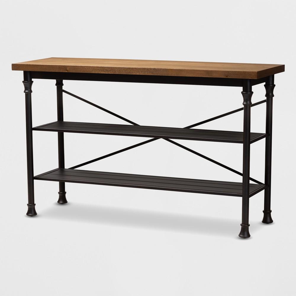 Velera Wood Finished Metal Kitchen Storage Shelf Unit Brown/Bronze - BaxtonStudio