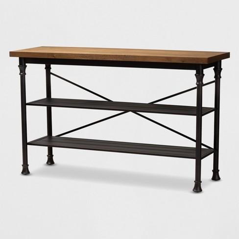 Velera Wood Finished Metal Kitchen Storage Shelf Unit Brown Bronze Baxtonstudio