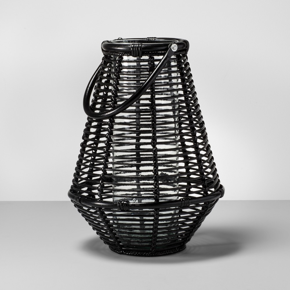 Rattan Lantern Candle Holder with Glass Insert - Black - Opalhouse