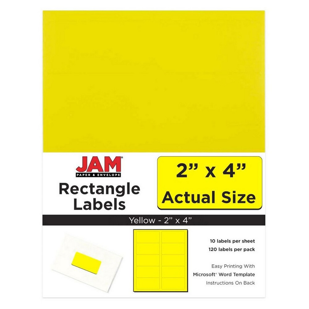 Jam Paper Mailing Labels 2 x 4 120ct - Yellow