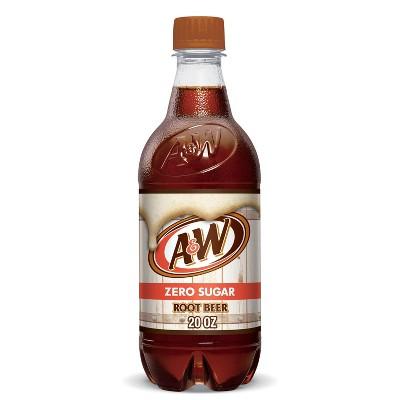 A&W Root Beer Zero Sugar Soda - 20 fl oz Bottle