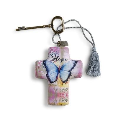 """DEMDACO Hope Butterfly Artful Cross 4"""" - Pink"""