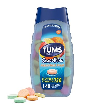 TUMS Extra Strength Smoothies Assorted Fruit Antacid Chewable Tablets - 140ct
