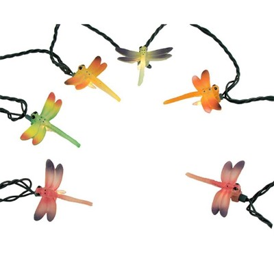 J. Hofert Co 10ct Dragonfly Summer Patio String Light Set Green Wire - Clear