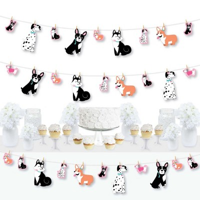 Big Dot of Happiness Pawty Like a Puppy Girl - Pink Dog Baby Shower or Birthday Party DIY Decorations - Clothespin Garland Banner - 44 Pieces