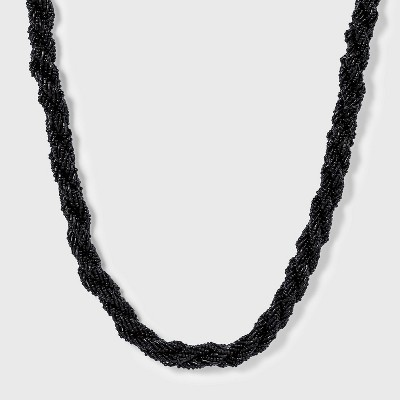 Seed Bead Twisted Necklace - A New Day™ Black