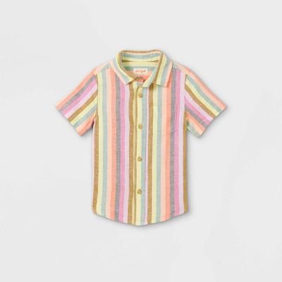 Toddler Boys' Striped Linen Woven Short Sleeve Button-Down Shirt - Cat & Jack™ Pink
