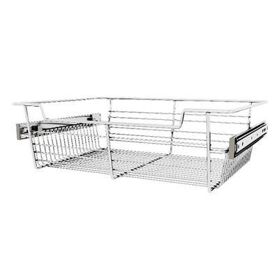 "Rev-A-Shelf Sidelines CBSL-181405CR-3 18"" Chrome Wire Pullout Storage Basket Bin Organizer for 14"" Deep Kitchen, Bathroom, or Closet Cabinet (3 Pack)"