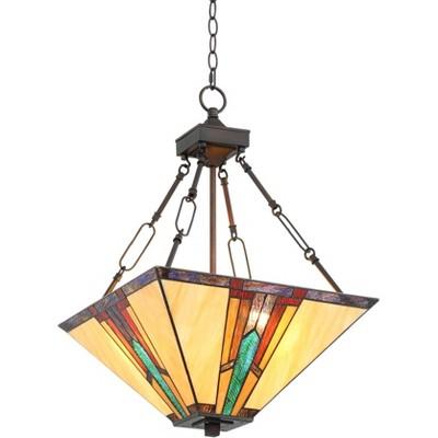 "Robert Louis Tiffany Bronze Pendant Chandelier 16"" Wide Mission Art Glass 3-Light Fixture Dining Room House Foyer Kitchen Island"
