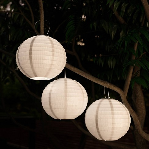 3pk Chinese Solar Led Outdoor Hanging Lanterns White Pure Garden Target