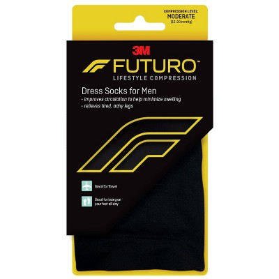 FUTURO Men's Dress Socks - Black - Moderate