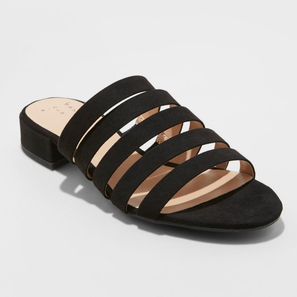 Women's Amali Wide Width Multi Strap Microsuede Low Heeled Slide Sandals - A New Day Black 8W, Size: 8 Wide