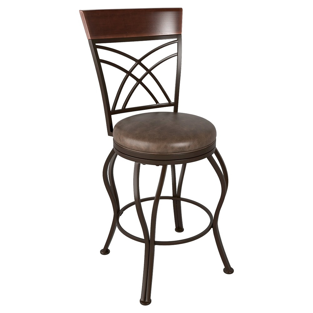 Fantastic 26 Bonded Leather Counter Stool Metalrustic Brown Corliving Machost Co Dining Chair Design Ideas Machostcouk