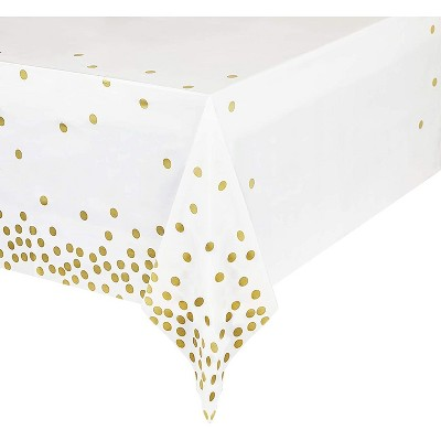 """Sparkle and Bash 3 Pack White Plastic Tablecloths Gold Polka Dot Confetti, Rectangular Party Table Covers, 54x108"""""""